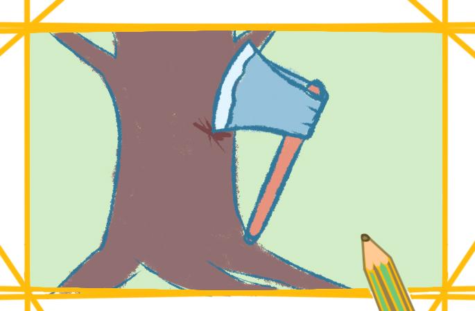 工具之斧头上色简笔画图片教程
