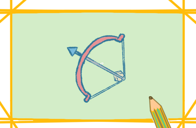 大力神弓上色简笔画图片教程步骤