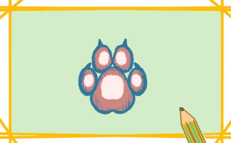 可爱的狗爪印简笔画带颜色怎么画