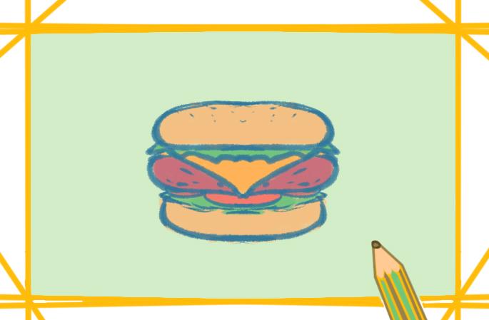 快餐之汉堡上色简笔画图片教程