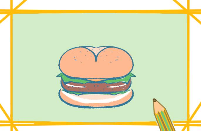 好看的牛肉汉堡上色简笔画要怎么画