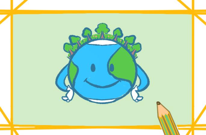爱护地球彩色简笔画要怎么画