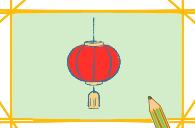 漂亮的紅燈籠上色簡筆畫要怎么畫