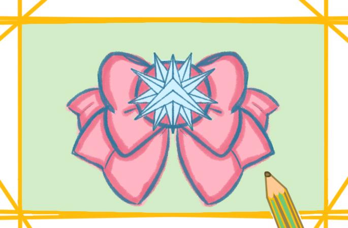 漂亮的大蝴蝶结上色简笔画图片教程