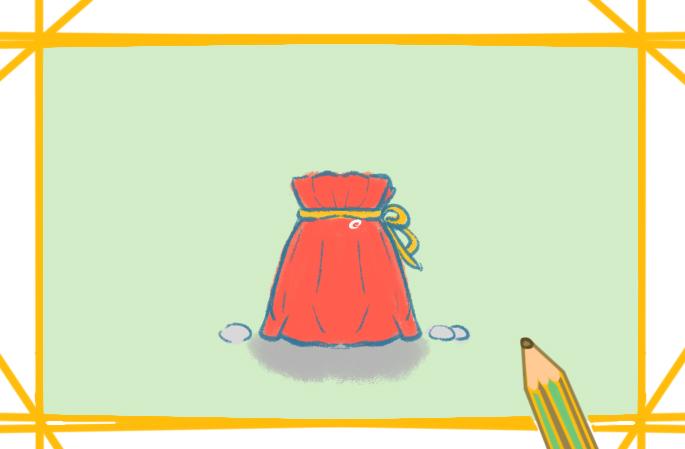 红袋子钱包上色简笔画要怎么画