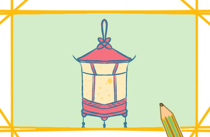 美丽的花灯上色简笔画要怎么画