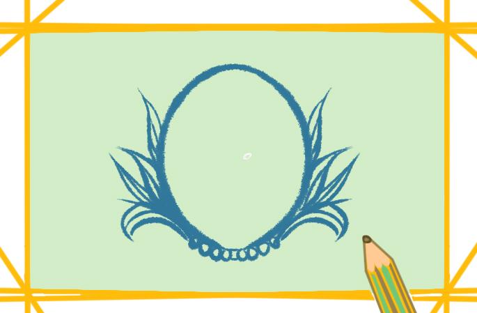 精美的镜子简笔画带颜色图片