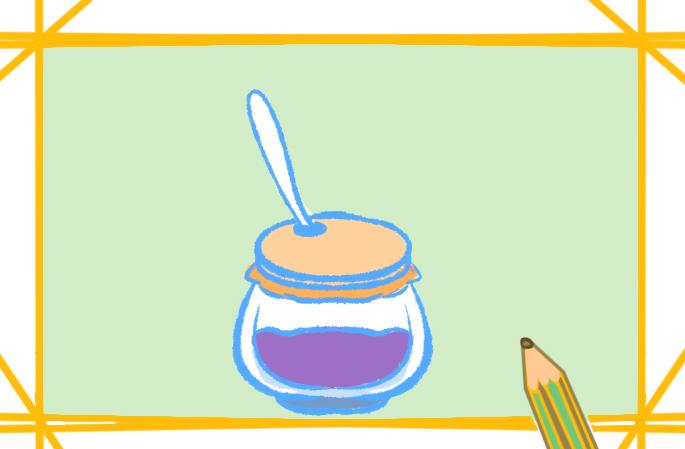 蓝莓果酱简笔画带颜色怎么画