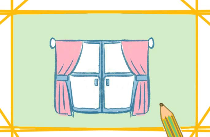 双扇大窗上色简笔画要怎么画