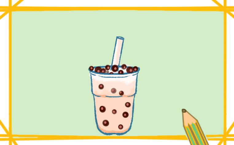 冬天的珍珠奶茶简笔画怎么画