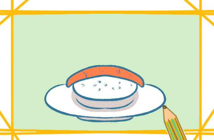 美味的叁文鱼寿司原创简笔画教程