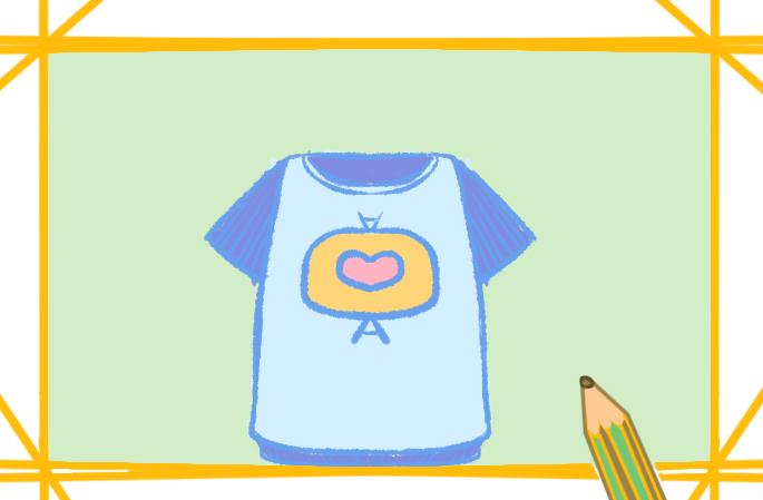 时尚的短袖上色简笔画要怎么画