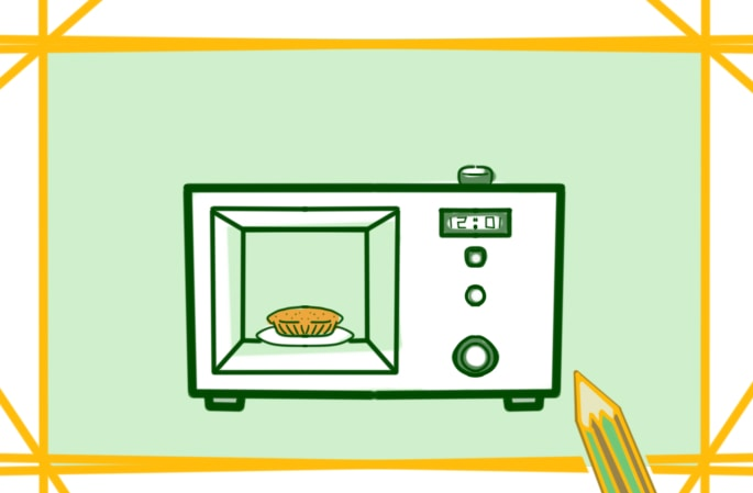 廚房的微波爐上色簡筆畫圖片教程