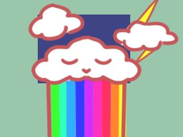 絢麗的彩虹上色簡筆畫圖片教程
