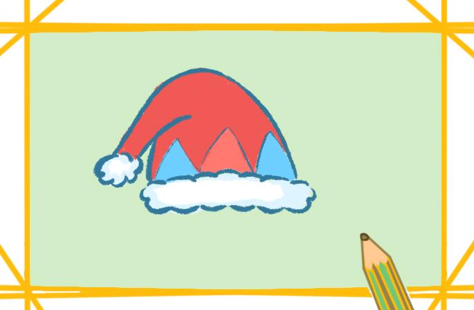 紅色的圣誕帽簡筆畫怎么畫