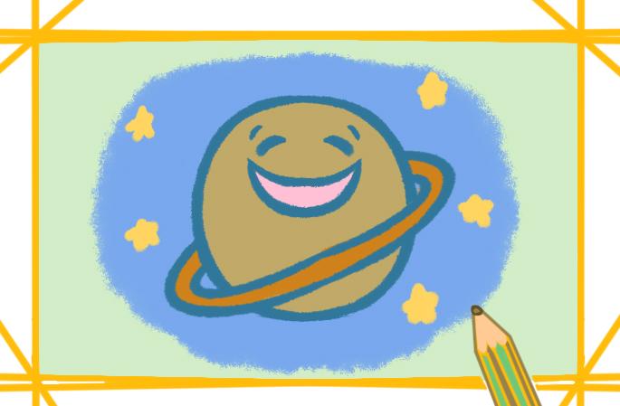 卡通小土星简笔画怎么画