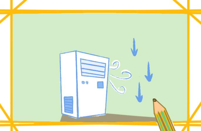凉爽的空调上色简笔画图片教程步骤