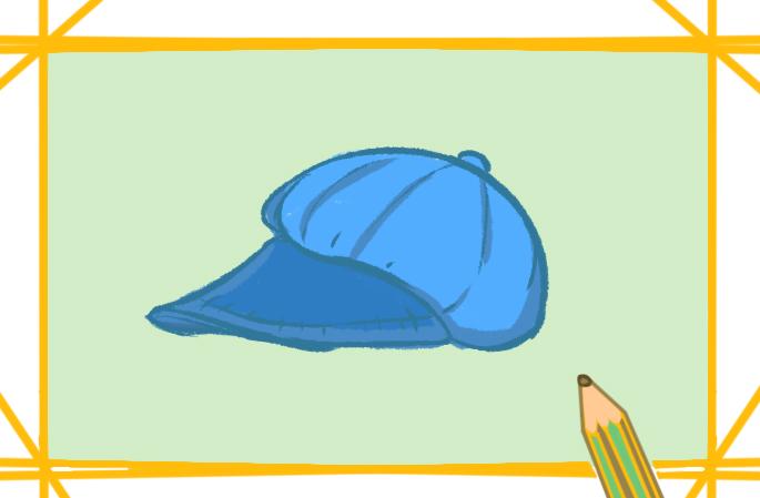 藍色貝雷帽上色簡筆畫圖片教程步驟