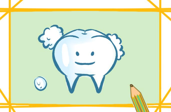 漂亮的牙齿上色简笔画图片教程