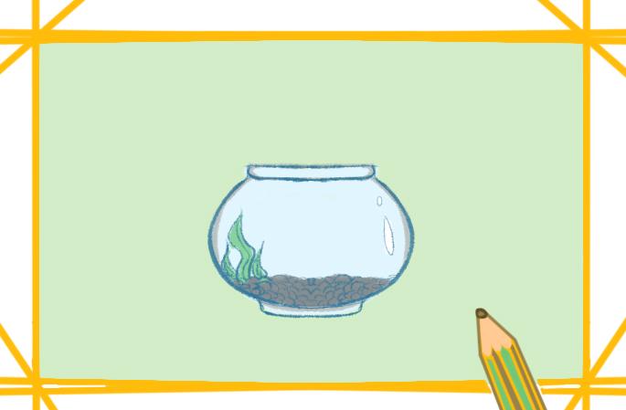 小魚缸上色簡筆畫圖片教程