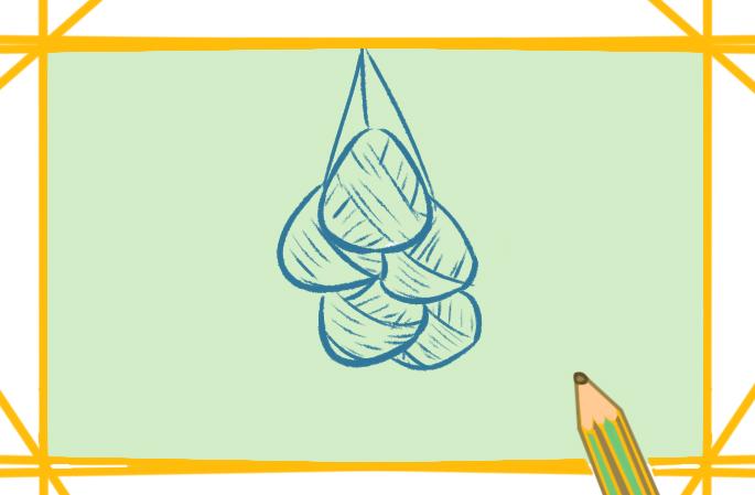 端午节一串粽子上色简笔画图片教程