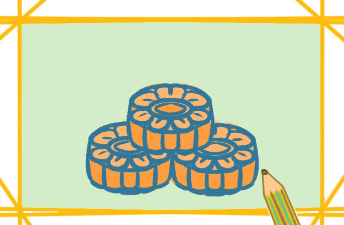 圆圆的中秋月饼上色简笔画要怎么画