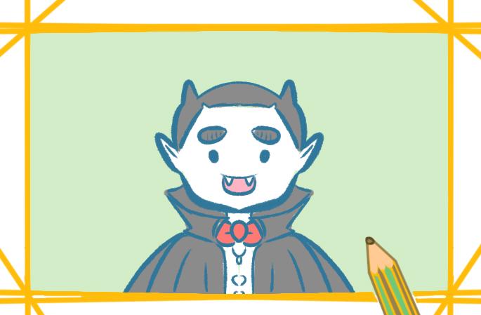 可爱的吸血鬼上色简笔画图片教程