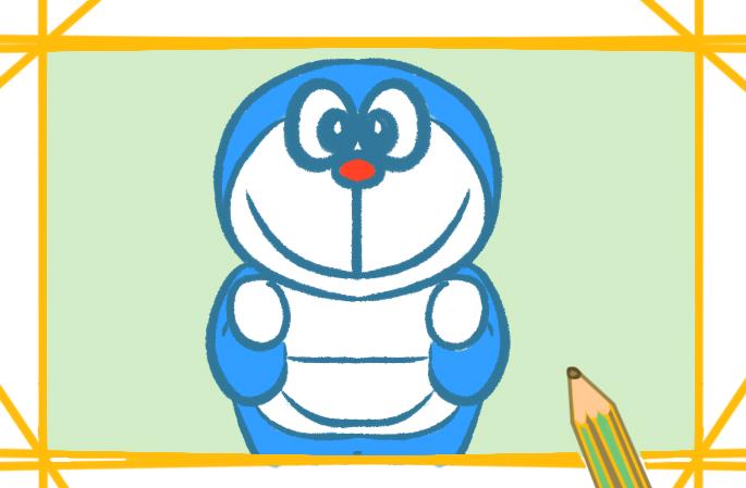 可愛的哆啦A夢上色簡筆畫步驟圖