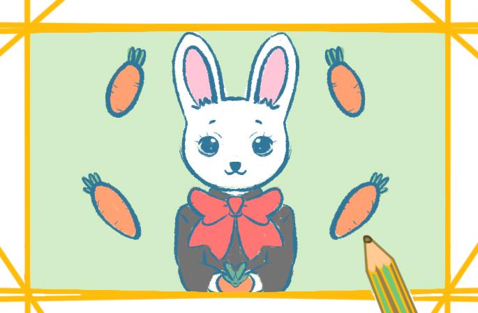 穿西装的白兔上色简笔画图片教程步骤