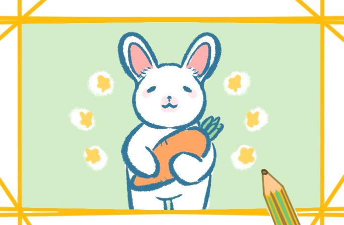 爱吃萝卜的小白兔上色简笔画要怎么画