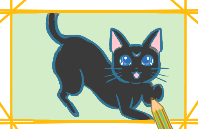 身手矫捷的黑猫上色简笔画要怎么画