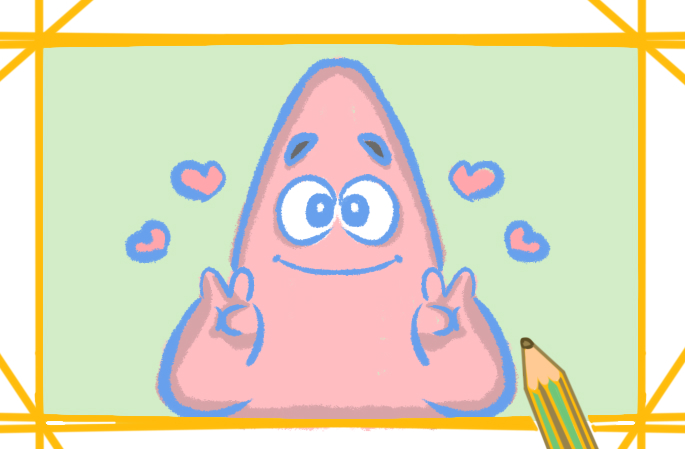 可愛的派大星上色簡筆畫圖片教程步驟