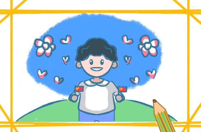 国庆节之爱国的男孩简笔画怎么画