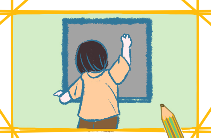 老师上课的背影简笔画怎么画