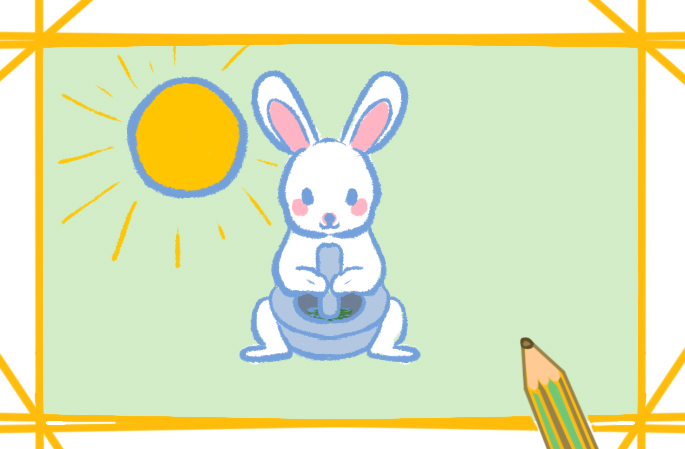 中秋节之白兔捣药简笔画要怎么画