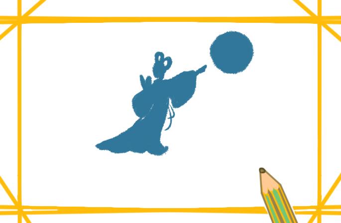 简单好看的嫦娥奔月上色简笔画要怎么画