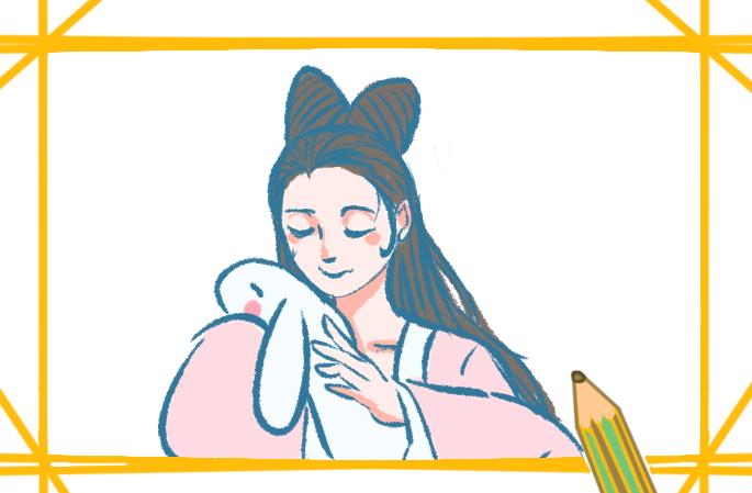 中秋节之美丽的嫦娥上色简笔画要怎么画