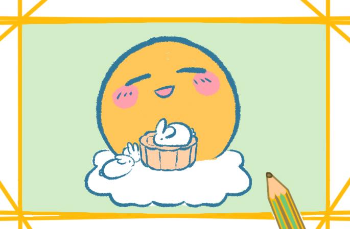 萌萌的中秋节月亮上色简笔画要怎么画