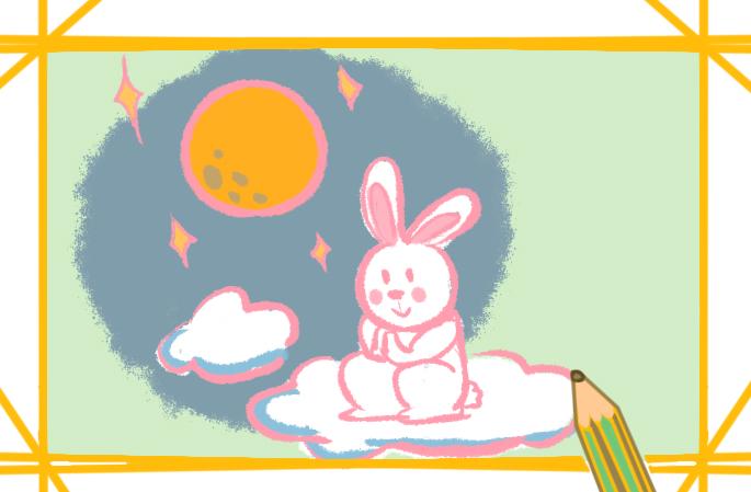 中秋节的玉兔原创简笔画教程